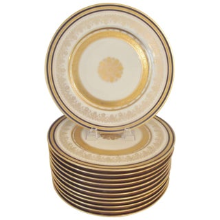 1920s Edwardian Cobalt Trimmed and Gilt Service Plates - Set of 12 For Sale