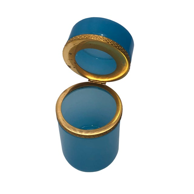 Tall French Blue Opaline Glass Box For Sale - Image 4 of 7