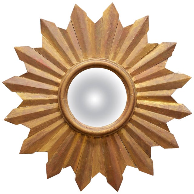 Rustic Wooden Starburst Convex Wall Mirror Patina Hollywood Rococo Mid-Century For Sale