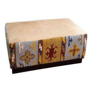 Gambrell Renard Kilim Wool & Cowhide Bench For Sale
