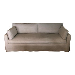 Modern Restoration Hardware Belgian Track Arm Slipcovered Sofa For Sale
