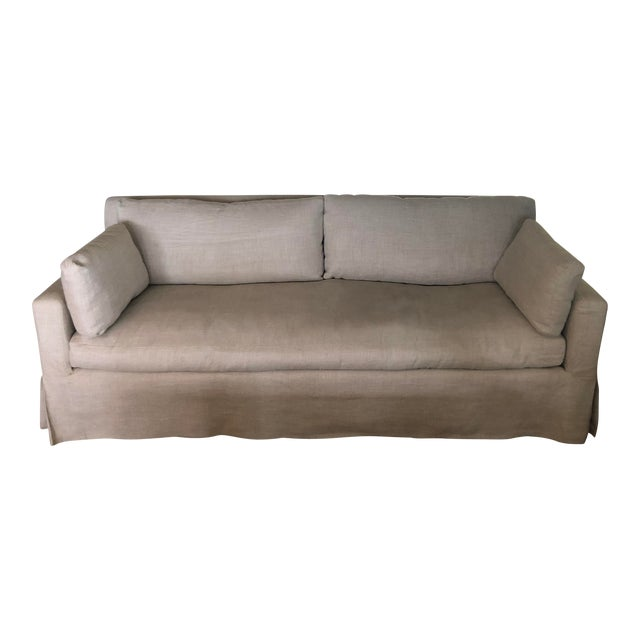 Modern Restoration Hardware Belgian Track Arm Slipcovered Sofa For Sale