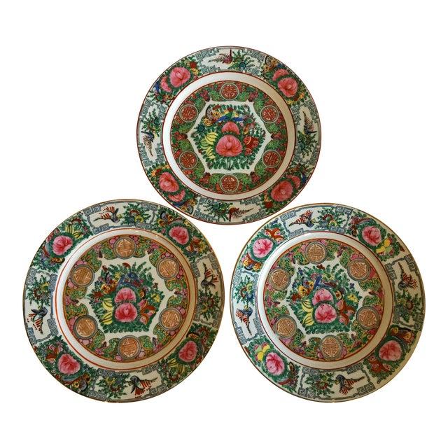 Vintage Famille Rose Medallion Decorative Plates - Set of 3 For Sale