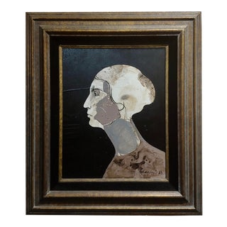 Mercado -Surreal Portrait of a Woman -Oil Painting 1968 For Sale