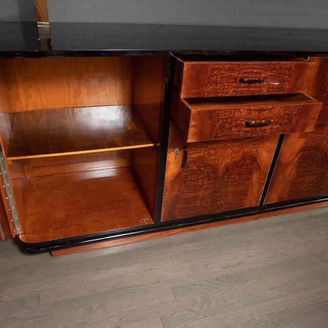 Art Deco Machine Age Burled Bookmatched Walnut and Black Lacquer Sideboard For Sale - Image 9 of 10