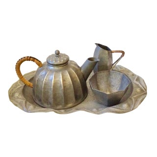 Antique French Art Nouveau Alice and Eugene Chanal Pewter Tea Set of 4 For Sale