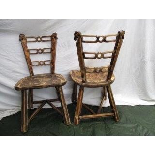 1950s Vintage Romweber Viking Oak Horse Head Chairs - Set of 4 Preview