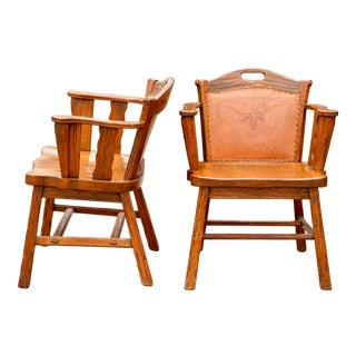Mid Century Heirloom A. Brandt Ranch Oak Cowboy Longhorn Embossed Leather Western Chairs For Sale