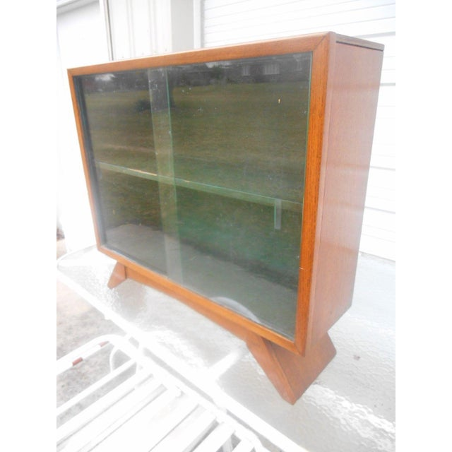 1930's Art Deco Petite Sliding Glass Door Bookcase For Sale - Image 6 of 8