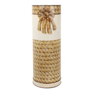 Vintage English Traditional Tole Umbrella Stand With Hand Painted Rope Design For Sale