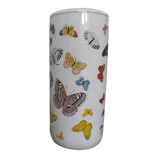 Butterfly Handpainted Ceramic Umbrella Stand For Sale