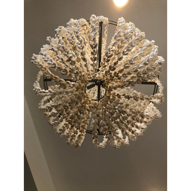 2010s Made Goods Empire White Shell Chandelier For Sale - Image 5 of 6