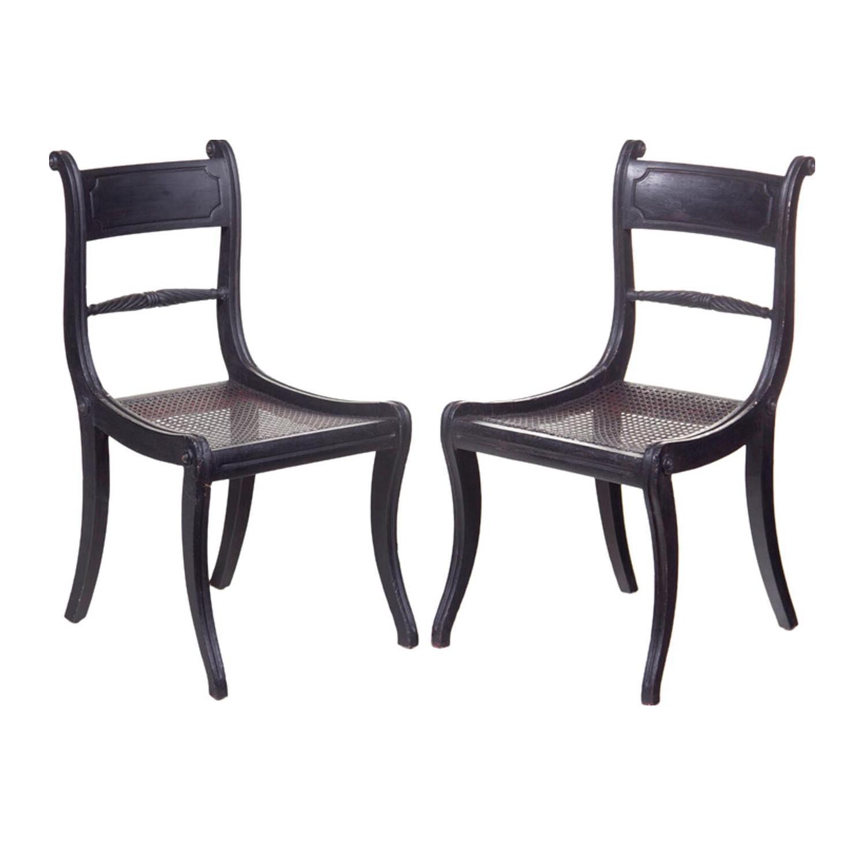 Ebonized Regency Chairs   A Pair