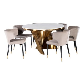 Waterfall Dining Set With Marble Top & Gray & Gold Chairs - Set of 7 For Sale