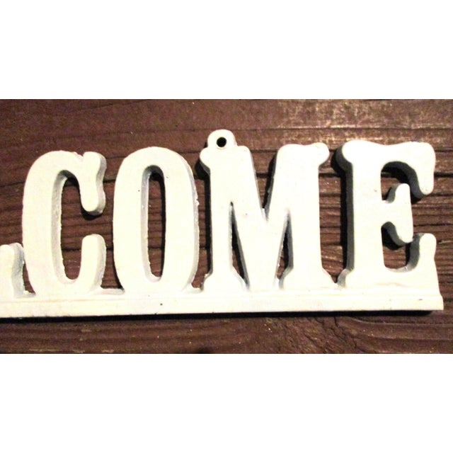 """Metal Vintage Cast Iron """"Welcome"""" Hanging Sign For Sale - Image 7 of 8"""