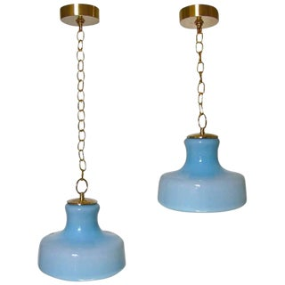 1960s Italian Murano Pale Blue Glass Ceiling Light Pendants - a Pair For Sale