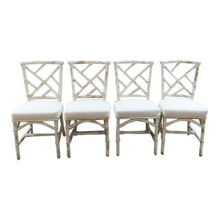 1970s Vintage Natural Rattan Chippendale Style Upholstered Dining Chairs - Set of 4 For Sale