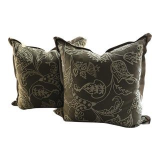 Embroidered Linen Pillows - A Pair For Sale