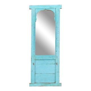 Antique Haveli Blue Floor Mirror For Sale