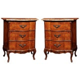 Image of Italian Olive Wood Marble Top Nightstands-A Pair For Sale