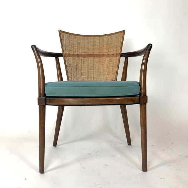 Mid-Century Modern Pair of Sculptural Bert England Brass, Cane & Carved Walnut Arm or Dining Chairs For Sale - Image 3 of 13