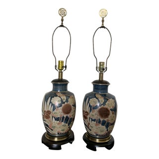 Vintage Modern Pair Oriental Ginger Jar Lamps by Frederic Cooper - a Pair For Sale