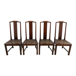 1990s Asian Style Cane Seat Ming Dining Chairs - Set of 4 For Sale