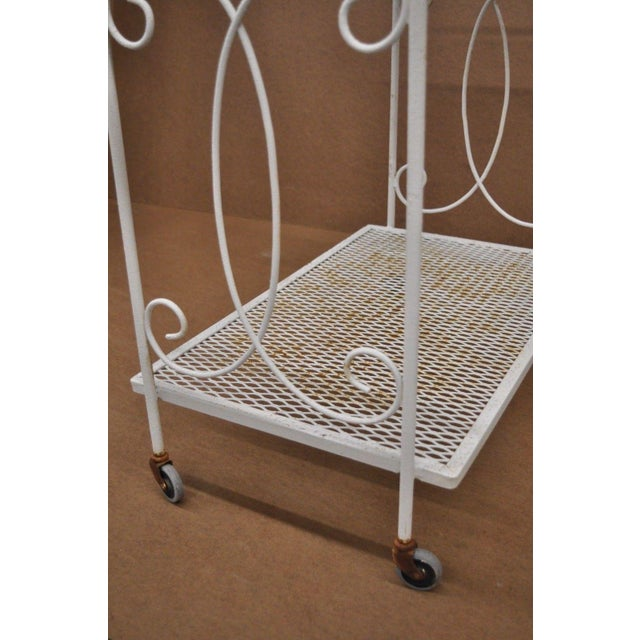 Metal Vintage Wrought Iron Metal Mesh Patio Tea Cart For Sale - Image 7 of 12