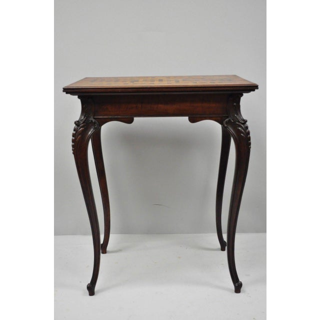 Louis XV Antique Dutch Marquetry Inlaid French Louis XV Style Carved Walnut Side Table For Sale - Image 3 of 13