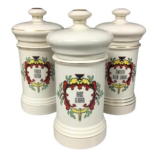 Set of 3 Large Vintage Porcelain Apothecary Jars For Sale