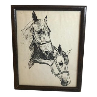 Vintage Mid-Century Two Horses Pen Sketch For Sale