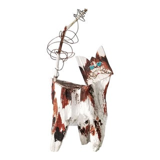 1980s Abstract Cat Art Wood Sculpture For Sale