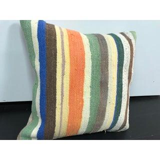 Vintage Turkish Anatolia Cotton Striped Kilim Pillow Preview