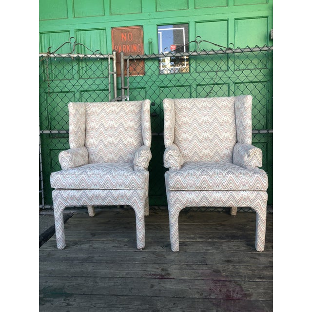 Mid Century High Back Wingback Chair With Vintage Upholstery- A Pair For Sale - Image 12 of 12