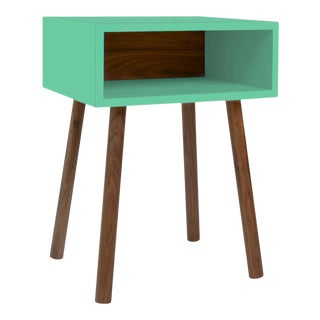 Minimo Modern Kids Nightstand in Walnut & Birch With Mint Finish For Sale