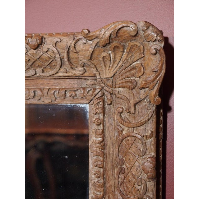 Mid 19th Century Pair of 19th Century French Carved Oak Mirrors For Sale - Image 5 of 11