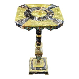 19th Century French Moss Green Onyx & Champleve Enamel Bronze Marble Pedestal Table For Sale