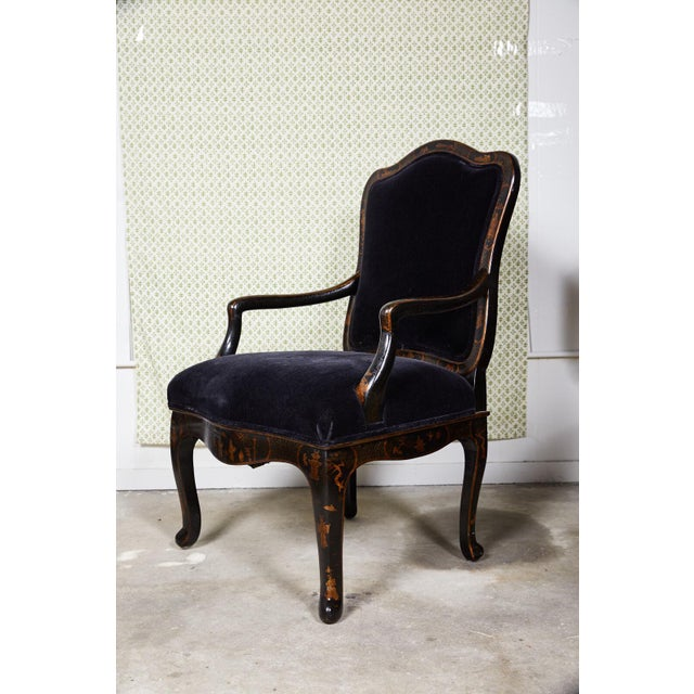 Louis XV Style Chinoiserie Fauteuil by Sally Sirkin Lewis for J Robert Scott For Sale - Image 11 of 12