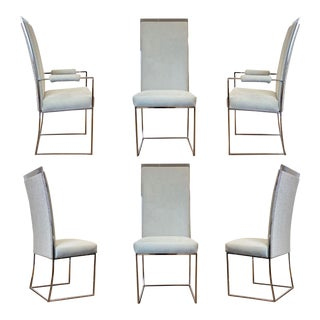 1970s Milo Baughman for Thayer Coggin Reupholstered Chrome Dining Chairs – Set of 6 For Sale