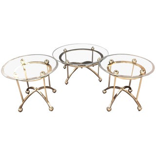 A Three Piece Modern Art Deco Style Set of End Tables and a Coffee Table For Sale