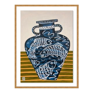Salmon Vase by Jelly Chen in Gold Framed Paper, Large Art Print For Sale
