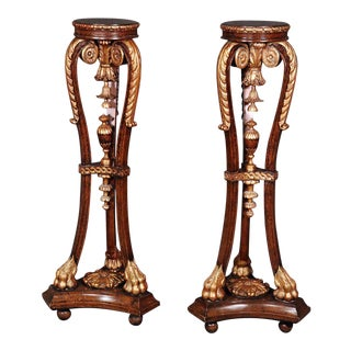 Pair Maitland Smith Carved Mahogany Faux Tortiseshell Gilded Pedestals For Sale