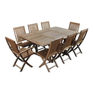 Traditional Teak Dining Set - 9 Pieces For Sale