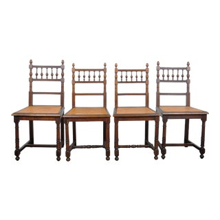 1970's Louis XIV French Oak Dining Chairs with Cane Seat - Set of 4 For Sale