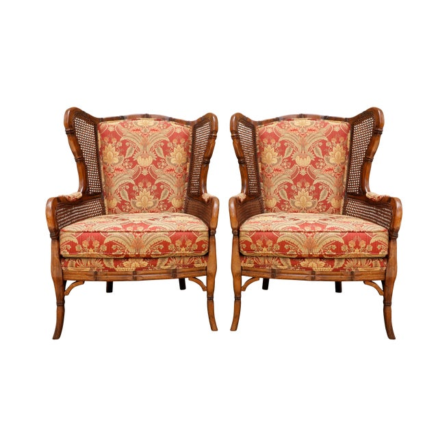 Faux Bamboo Caned Wingback Chairs, a Pair For Sale