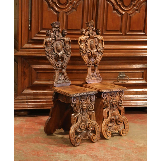 Mid 19th Century Pair of 19th Century Italian Renaissance Carved Walnut Sgabello Hall Chairs For Sale - Image 5 of 13