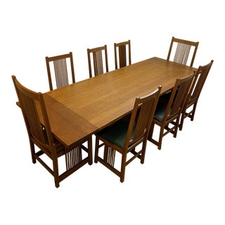 1990s Vintage Stickly Keyhole Trestle Table and Mission Oak Chairs - Set of 11 For Sale