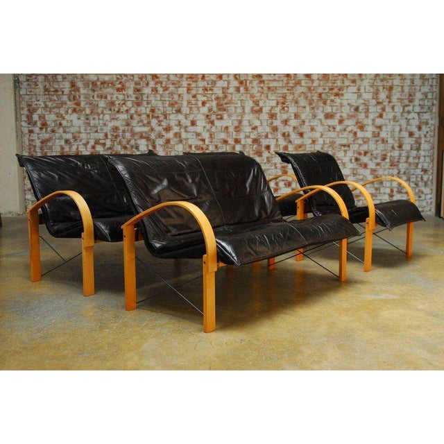 Mid-Century Danish Bentwood & Leather Armchairs - A Pair For Sale - Image 10 of 10