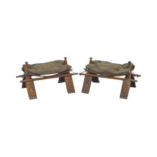 M. Hayat & Bros Vintage Pair Camel Saddle Foot Stools For Sale
