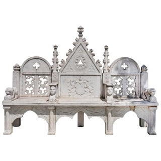 French 19th Century Romanesque and Gothic Style Hand-Carved 3 Seat Marble Bench For Sale